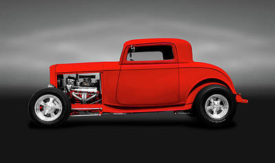 Photograph - 1932 Ford Three Window Deuce Coupe  -  1932fordthreewindowcpegray140542 by Frank J Benz