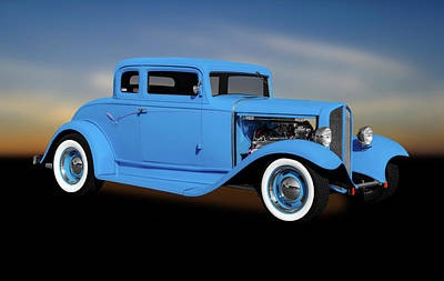 Photograph - 1932 Pontiac 5 Window Coupe  - 1932pontiac5windowcoupesky185985 by Frank J Benz