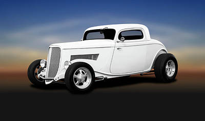 Photograph - 1933 Ford 3 Window Coupe   -  1933ford3windowcoupewhite196599 by Frank J Benz