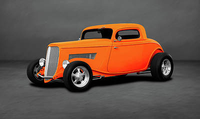 Photograph - 1933 Ford 3 Window Coupe   -  1933fordthreewindowcpegray196599 by Frank J Benz