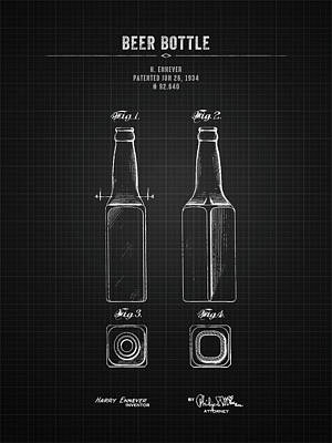 Sultry Plants - 1934 Beer Bottle - Black Blueprint by Aged Pixel