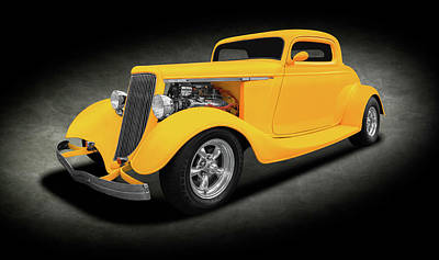 Photograph - 1934 Ford Three Window Coupe  -  1934ford3windowcoupesptext142067 by Frank J Benz