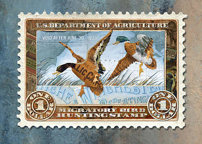 Mixed Media - 1934 Hunting Stamp Collage by Clint Hansen