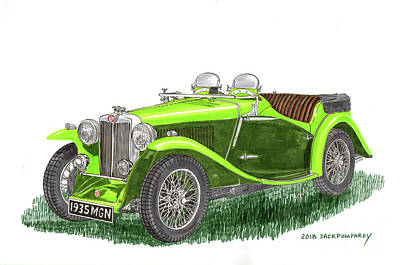 Painting - 1935 M G  N B Roadster by Jack Pumphrey
