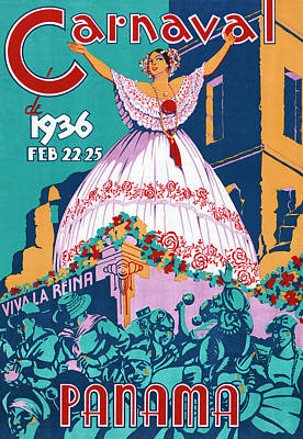 Photograph - 1936 Panama Carnaval Poster by Graphicaartis