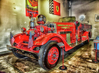 Landmarks Royalty Free Images - 1937 Fire Truck Lansford Pennsylvania Abstract I  Royalty-Free Image by Linda Brody