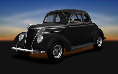 Photograph - 1937 Ford 5 Window Coupe  -  1937fordfivewindowcoupe173664 by Frank J Benz