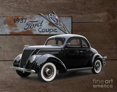 Superhero Ice Pop - 1937 Ford Coupe on Barnwood by Ron Long