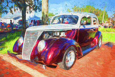 Photograph - 1937 Ford Slant Back 2 Door Hot Rod 10a by Rich Franco