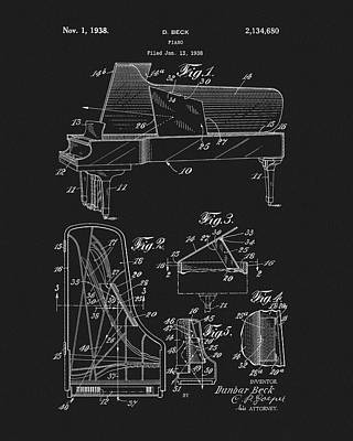Musicians Drawings - 1938 Steinway Piano by Dan Sproul