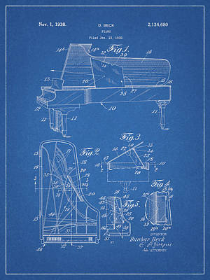 Musicians Drawings - 1938 Steinway Piano Design by Dan Sproul