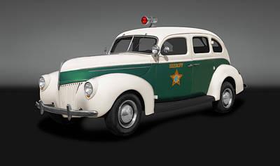 Photograph - 1939 Ford Four Dour Sedan Sheriffs Car  -  1939fordsedansheriffscargray186078 by Frank J Benz