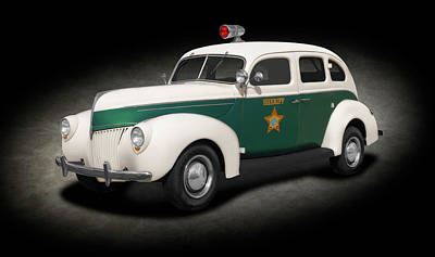 Photograph - 1939 Ford Four Dour Sedan Sheriffs Car  -  1939fordsheriffssedanspttext186078 by Frank J Benz