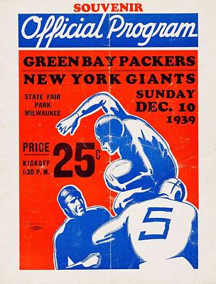 Sports Paintings - 1939 NFL Championship Game Program   Packers Victory Over the Giants by Celestial Images