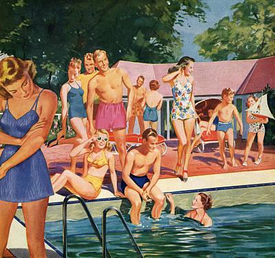 People Digital Art - 1940s Pool Party by Graphicaartis
