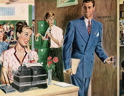 People Digital Art - 1940s Workers In A Busy Office by Graphicaartis