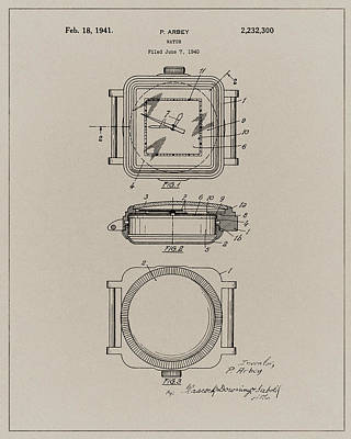 Drawing - 1941 Rolex Watch Design Patent by Dan Sproul