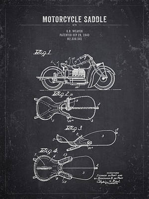 Christmas Christopher And Amanda Elwell Rights Managed Images - 1943 Indian Motorcycle Saddle - Dark Charcoal Grunge Royalty-Free Image by Aged Pixel