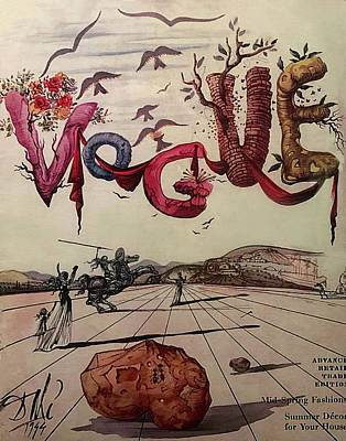 Animals Drawings - 1944 Cover of Vogue Magazine Dali Illustration by Marilyn Hunt