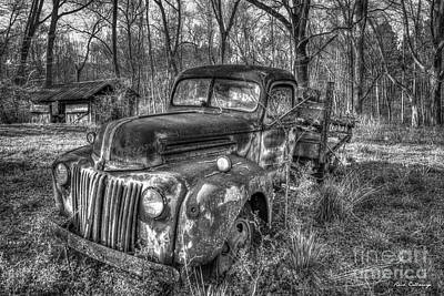 Photograph - 1947 Ford Sunset B W Stakebed Pickup Truck Art by Reid Callaway