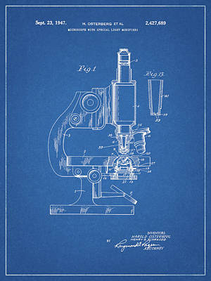 Drawing - 1947 Microscope Patent  by Dan Sproul