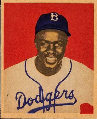 Sports Paintings - 1949 Bowman Jackie Robinson by Celestial Images