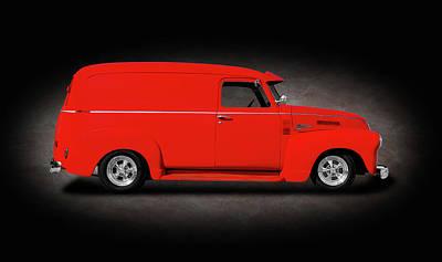 Photograph - 1950 Chevrolet 3100 Panel Delivery Truck  -  1950chevypaneltruckspttext185989 by Frank J Benz