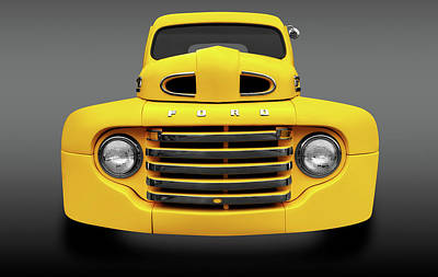 Photograph - 1950 Ford F-100 Pickup Truck Front Detail  -  1950f100fordpickupfrtdetailfa119327 by Frank J Benz