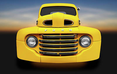Photograph - 1950 Ford F-100 Pickup Truck Front Detail  -  1950fordf100truckfrontdetail119327 by Frank J Benz