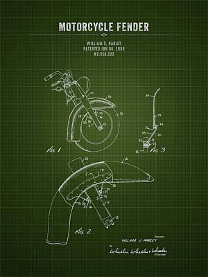 Route 66 - 1950 Harley Davidson Motorcycle Fender - Dark Green Blueprint by Aged Pixel