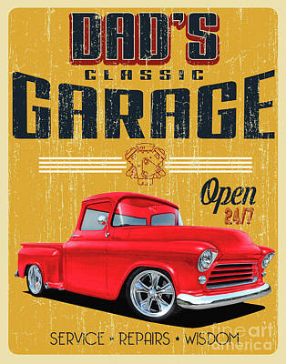 Mixed Media Royalty Free Images - 1950s Garage of Dads Royalty-Free Image by Paul Kuras