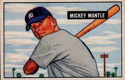 Recently Sold - Sports Royalty-Free and Rights-Managed Images - 1951 Bowman Mickey Mantle by Celestial Images