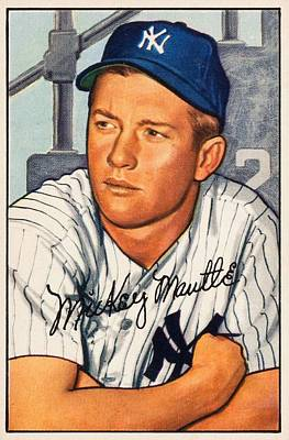 Sports Paintings - 1952 Bowman Mickey Mantle by Celestial Images