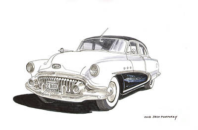 Drawing - 1952 Buick Special 4 Door by Jack Pumphrey
