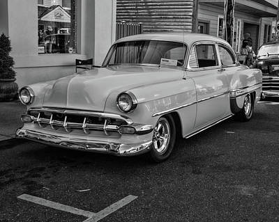 Photograph - 1954 Chevy In Black And White by HW Kateley