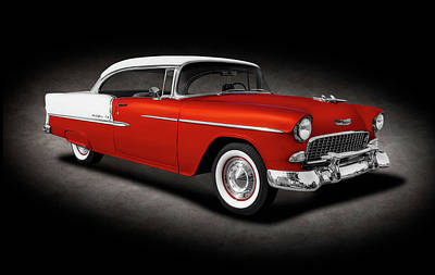 Photograph - 1955 Chevrolet Bel Air Sport Coupe  - 1955chevybelairhardtopspottext153611 by Frank J Benz