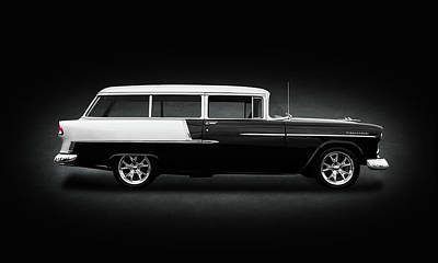 Photograph - 1955 Chevrolet Bel Air Station Wagon  -  1955chevybelairwagonspottext149134 by Frank J Benz