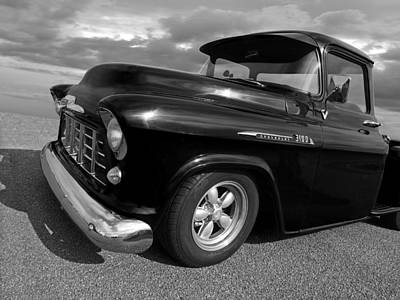 Photograph - 1956 Chevrolet 3100 Truck In Black And White by Gill Billington