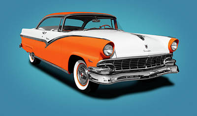 Photograph - 1956 Ford Fairlane Victoria Hardtop  -  1956fordvictoriahardtopblue152965 by Frank J Benz
