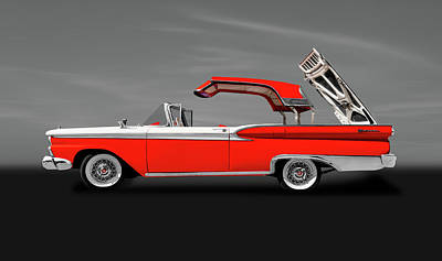 Photograph - 1959 Ford Skyliner Convertible Hardtop  -  1956fordskylinerhardtopgray149292 by Frank J Benz