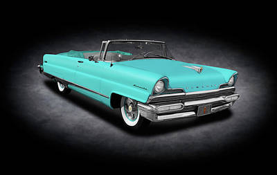 Photograph - 1956 Lincoln Premiere Convertible Sedan  -  1956lincolnpremierecvspttext140802 by Frank J Benz