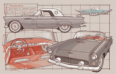 Drawing - 1956 Thunderbird gray by Larry Hunter
