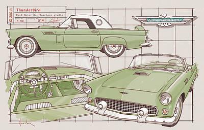 Drawing - 1956 Thunderbird green by Larry Hunter
