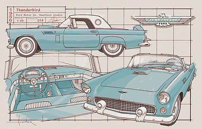 Drawing - 1956 Thunderbird Peacock blue by Larry Hunter