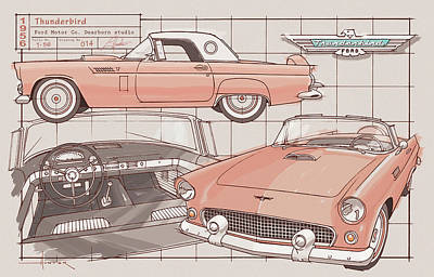 Drawing - 1956 Thunderbird sunset coral by Larry Hunter