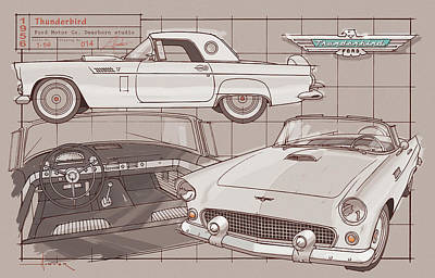 Drawing - 1956 Thunderbird white on black by Larry Hunter
