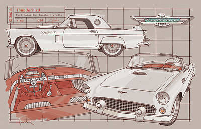 Drawing - 1956 Thunderbird white on red by Larry Hunter