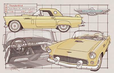 Drawing - 1956 Thunderbird Yellow by Larry Hunter