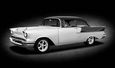 Photograph - 1957 Chevrolet 150 Series Two Door Post Sedan  -  1957chevy2doorpostsedanspttext170866 by Frank J Benz