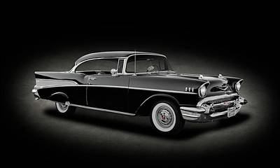 Photograph - 1957 Chevrolet Bel Air 2-door Hardtop Sport Coupe   -   1957chevybelairsportcoupespttext156426 by Frank J Benz